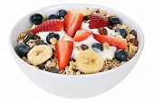 stock photo of fruit bowl  - Fruit muesli for breakfast in bowl with fruits like raspberry blueberries banana and strawberry isolated - JPG