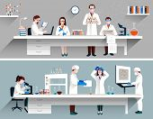 picture of scientist  - Scientists in lab concept with males and females doing research vector illustration - JPG