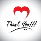 image of heartfelt  - thank you handwritten words vector with heart or love icon - JPG