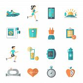 Jogging Icons Flat