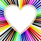Colored pencils forming a heart frame
