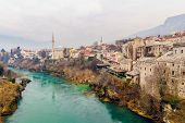 View From The Old Bridge In Mostar,bosnia And Herzegovina