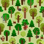 Forest seamless pattern with trees and animals. Wolf, wild boar, hedgehog, squirrel