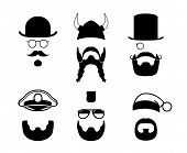 pic of mustache  - Black silhouettes of different parts of the face - JPG