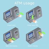 ATM terminal usage. Payment with credit card, take and insert cash