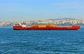 Ship Carrier With Timber In Bosphorus, Istanbul, Turkey
