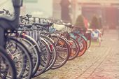 Group Of Bikes In Parking In Amsterdam