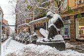 Zagreb Nikola Tesla in the snow