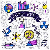 picture of reaction  - Science symbols doodle sketch pictograms of relativity equation formula eureka moment and chemical reaction abstract vector illustration - JPG