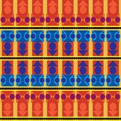 Aztec Tribal Seamless Pattern With Blue Forms Over Orange  Background