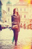 Girl With Umbrella At Street In Lviv, Ukraine