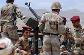 Yemeni military on duty in Hadramaut valley, Yemen.