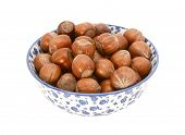 Hazelnuts In A Blue And White China Bowl