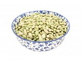 Flageolet Beans In A Blue And White China Bowl