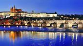 Charles Bridge (karluv Most) And Vltava River By Night, Prague