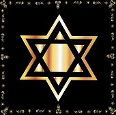 Star Of David Made Of Gold Over Black
