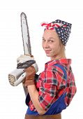 picture of chainsaw  - Vintage pretty young woman with a chainsaw on the white background - JPG