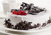 White Cream  Cake With Berries And Chocolate