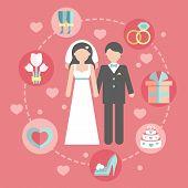 Wedding infographic set with Cartoon Bride and groom.Wedding day coast statistics design template.Ve