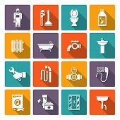 foto of plumber  - Plumber flat icons collection of bath shower cabin heater system leakage solid color abstract isolated vector illustration - JPG