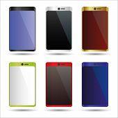 Various Color Smart Phones Mock Up Symbols Eps10