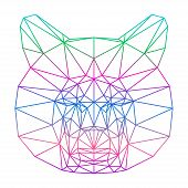 Abstract Gradient Colored Bear Silhouette Drawn In One Continuous Line