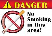 Danger! No smoking in this area - printable sticker.