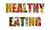 Colorful Ripe Fruit And Vegetables Inside Text On White Backround