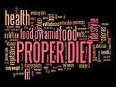 picture of food pyramid  - Proper diet and healthy food diet concepts word cloud illustration - JPG
