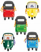 picture of rickshaw  - vector illustration of colorful tuk tuks or auto rickshaws - JPG