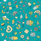 stock photo of lollipop  - Vector doodle hand drawn seamless pattern with desserts - JPG