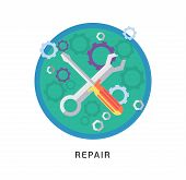 Hammer and wrench icon with long shadow on white background