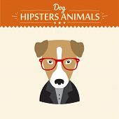 Hipster character elements for nerd puppy dog with customizable face look and clothing vector illust