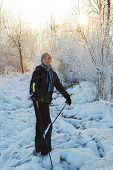 pic of nordic skiing  - Boy having a fun with cross country skiing at the sunny winter day