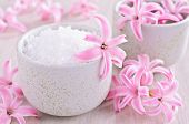 Aromatic Salt. Pink Flowers Of The Hyacinth.