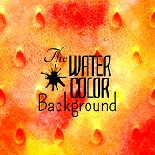 Abstract vector hand drawn red orange yellow color watercolor background