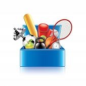 Sport Objects Box Isolated On White Vector