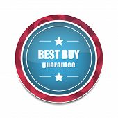Best buy round vector icon in blue and red color