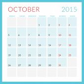 Calendar 2015 Vector Flat Design Template. October. Week Starts Monday
