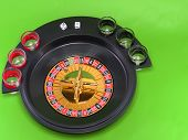 Casino Roulette On Green Broadcloth.