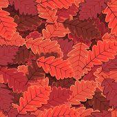 Seamless Winter Oak Tree Leaves Wallpaper