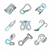 Flat line vector icons for rock climbing equipment