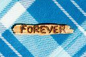 Forever - Burned Word On Wooden Sliver. Blue Checkered Background.