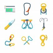 Flat icons vector collection of mountaineering outfit