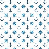Pattern With Blue Anchors And Helms