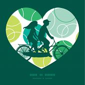 Vector abstract green circles couple on tandem bicycle heart silhouette frame pattern greeting card