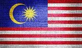 Malaysia flag on burlap fabric
