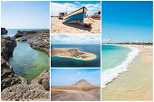 Picture Montage Of Sal Island Landscapes  In Cape Verde Archipel