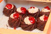 Seven Cakes In Box Closeup