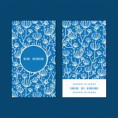 Vector blue white lineart plants vertical round frame pattern business cards set